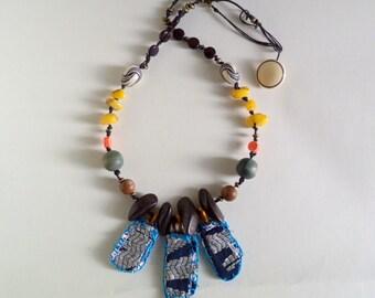 TripleTextile Pendant Beaded Agate Wood Reversible Statement Necklace
