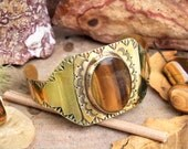 Oval Shaped Tiger Eye Hand Stamped and Tooled Southwestern Brass Bronze Cuff Bracelet
