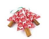 Rustic Holiday Decor Cinnamon Christmas Tree Decorations Reindeer on Red