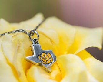 The Yellow Rose of Texas Necklace - Cast in Sterling Silver