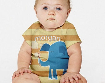 Blue Elephant Baby Boy Outfit, Personalized Baby Snap-Shirt, Blowing Bubbles Baby Clothing