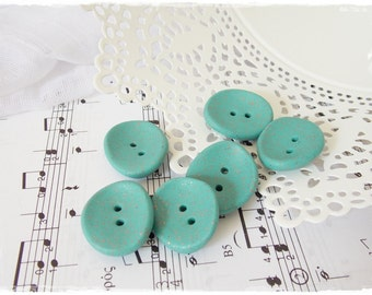 Large Turquoise Buttons, Oversized Clay Buttons, Round Aqua Blue Buttons, Polymer Clay Buttons, Turquoise Romantic Summer Button, Sea Button