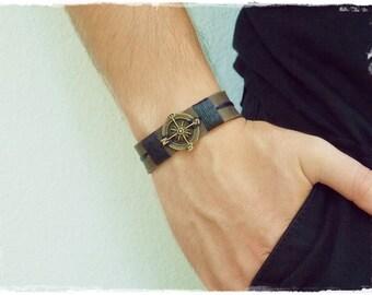 Men's Nautical Bracelet, Compass Leather Bracelet, Traveler's Bracelet, Steampunk Men's Bracelet, Men's Nautical Jewlry, Navy Compass Cuff