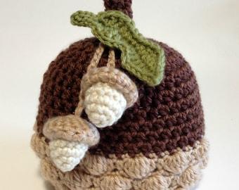 Crochet Fall Baby Hat, Acorn Hat, Acorn Baby Beanie, Autumn Baby Hat, Fall Baby Hat, Baby Photo Prop, Fall Photo Prop, Halloween Baby Hat