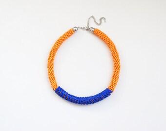 Kumihimo necklace, orange necklace, orange and blue necklace, chunky necklace, tribal necklace, statement necklace, rattail braided necklace
