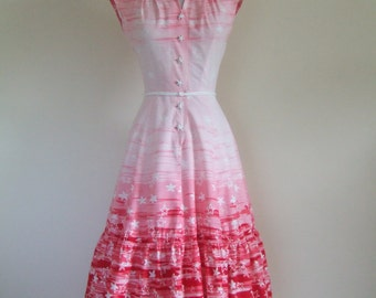 Vintage 1950s Doris Dodson juniors novelty print pink cotton day dress XS W25""