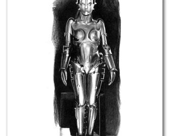 Maria. The robot from the 1927 movie Metropolis Mouse Pad - Original Graphite Portrait