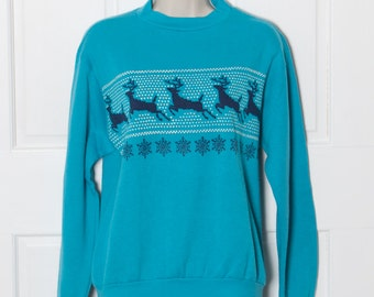 Super Soft Vintage Winter Sweatshirt - deer snowflakes - M