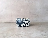 Rustic fall navy blue bracelet weddingand ivory white cuff bracelet with floral ornaments, dark blue, gift for her