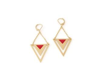 Earrings Pythagore red , brass, gold plated 24k, enamel