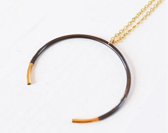Crescent Moon Necklace, Black and Gold Circle Necklace, Gold Horseshoe Necklace, Crescent Necklace, As Seen on ALYSIA REINER,