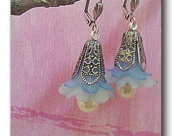 Dangle Earring Blue Bell Lucite Flower Romantic Faux Pearl Drops