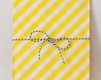 Yellow and White Stripe Party Favor Bags Yellow Goodie Bags Yellow Party Supplies Yellow Birthday Party Treat Bags Snack Bags / Set of 12