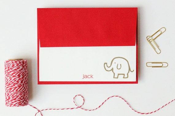 Kids Stationary Personalized Elephant Stationery Custom Stationery Kids Stationary Kids Note Cards Red Thank Notes Safari Animal / Set of 10