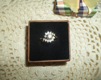 Cubic Zirconia 18K GE Plated Ring With Raised Center Stone