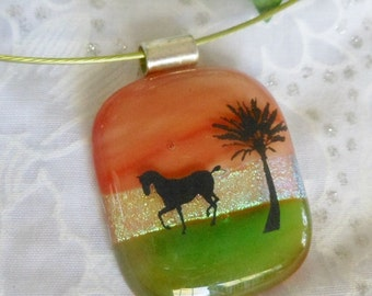 Dicroic Fused Glass Pendant Necklace, Fused Glass Jewelry, Horse Scene