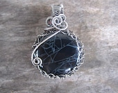 Spiderweb Obsidian Wire Wrapped Pendant, Halloween Jewelry, Gypsy Girl, Sterling Silver