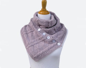 Hand knit convertible scarf cowl lavender buttoned purple loop gift women - Made to order - Choose color