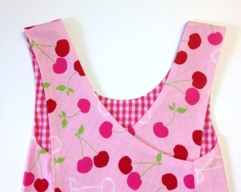 Reversible Pinafore, Frock, Smock, size 12-24 months, Pink and Red Cherry, Toddler top, dress, apron