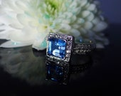 Blue Topaz Silver Ring, Blue Topaz Ring, Natural Blue Topaz, Natural Blue Topaz Jewelry, Princess Cut Gemstone Ring