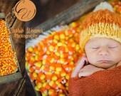 Newborn Knit One of a Kind Handspun Merino Candy Corn Hat - Ready to Ship Autumn Fall Photography Prop, RTS Fall Photography Prop