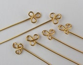 Gold plated trefoil headpins, 3 pairs clover leaf earring findings, hand crafted jewellery supplies in 20 ga wire, more available.