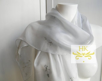 Silver Silk Scarf.Hand Painted Silver Scarf.Grey Silk Shawl.Wedding Scarf.Silver Silk Scarf.Floral Scarf.Prom Shawl.Platinum Silk Scarf.Silk