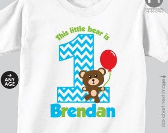Boy Teddy Bear Birthday Shirt or Bodysuit - Personalized Teddy Bear Birthday Shirt or Bodysuit
