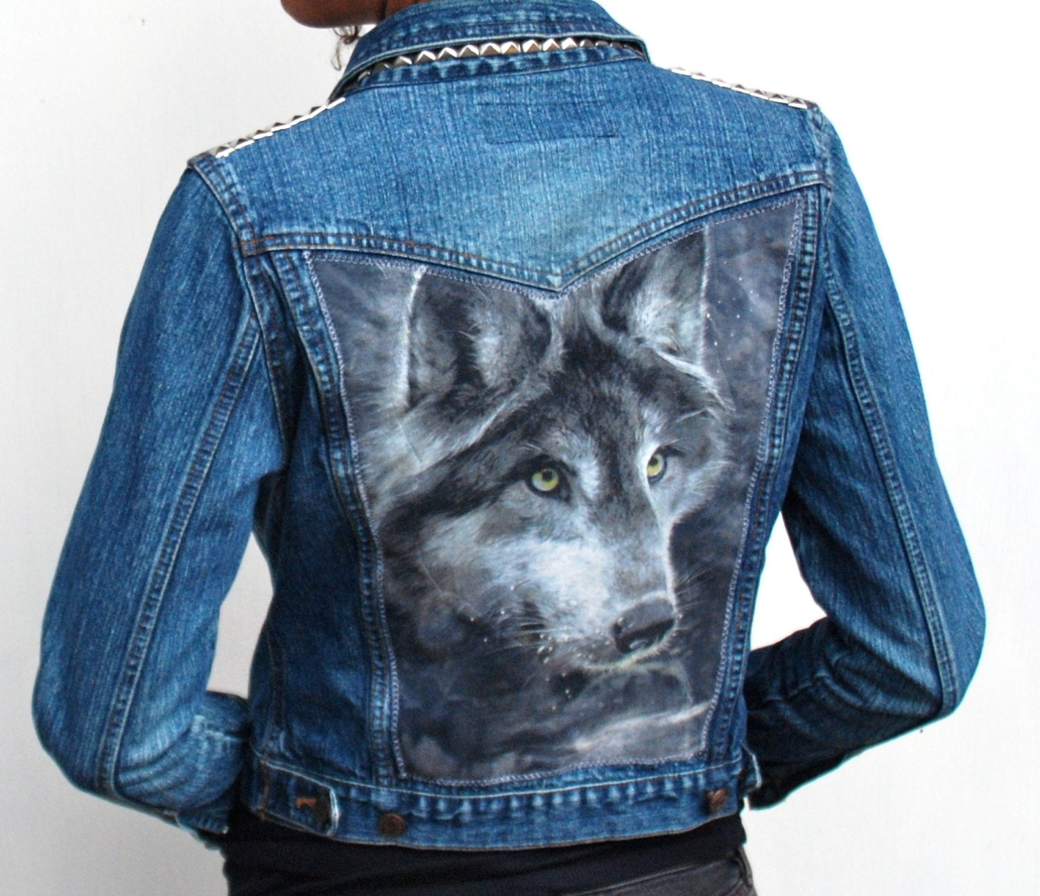 Women S Denim Jacket Wolf And Silver Studs Ooak By
