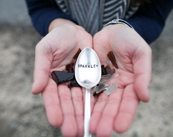 Sparkle - Hand Stamped Vintage Spoon - For Such A TIme Designs - Be you, be unique, shine bright, coffee spoon, cereal spoon
