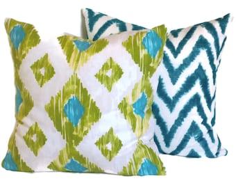 Aqua and Lime Green Ikat Decorative Pillow Cover 18x18, 20x20, 22x22 or 14x20 Lumbar Pillow Accent Pillows Throw Pillows Toss Pillow