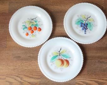 Vintage Decorative Milk Glass Fruit Plates