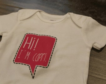 newborn name announcement - personalized name shirt for baby - cute speech bubble - baby shower gift - personalized bodysuit, snap suit