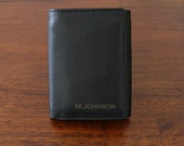 Mens Christmas gift Personalized Wallet Groomsman gift Genuine Leather Tri fold Wallet Mens Leather Wallet Fathers day Gift