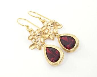 Garnet Drop Earrings in Gold with Flower - Burgundy Faceted Stone Dangle Jewelry |RJ1-3