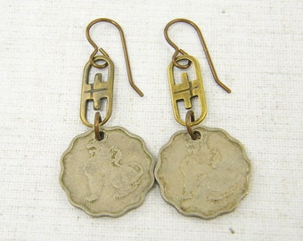 Coin Earrings - Tribal Brown Silver Mixed Metal Dangling Global Fashion Jewelry Under 25 for Her