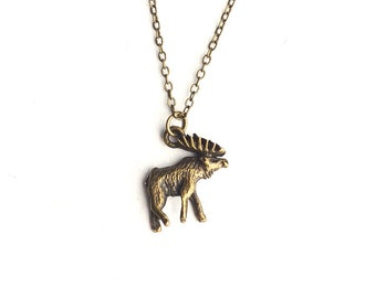 Caribou Necklace or Earrings - Bronze Woodland Animal Jewelry- Canada- Antlers- Rustic Charm Jewelry