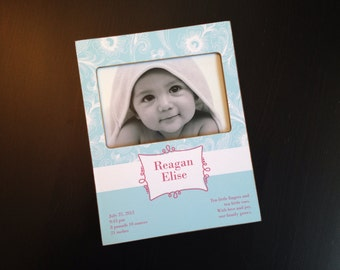 Personalized Baby Gift Baby Birth Stats Frame Newborn Gift New Mom Gift Baby Shower Present Custom New Baby 4x6 Picture Frame Keepsake Frame