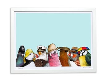 Birds in Hats - Giclee Limited edition A3 Print