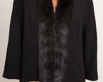 1950s BRANELL Wool Boucle Coat w/ Black Mink Fur Collar, size medium, Vintage 50s, Cropped wool Jacket Shrug, Audrey Hepburn, Classic