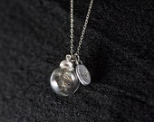MINI pure&simple - TINY necklace with Real Dandelion Seeds in glass orb and WISH charm. Delicate and elegant jewelry for her!