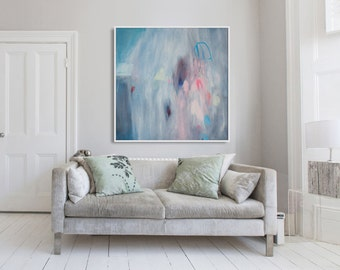 "GICLEE print, blue abstract painting with pink and white. Modern painting ""Cherry Bomb 3"""