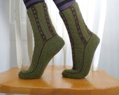Knitted Socks / Slippers in Green and Brown - Hand Knitted Women Winter Home Socks / Slippers - Geometric Knit Socks