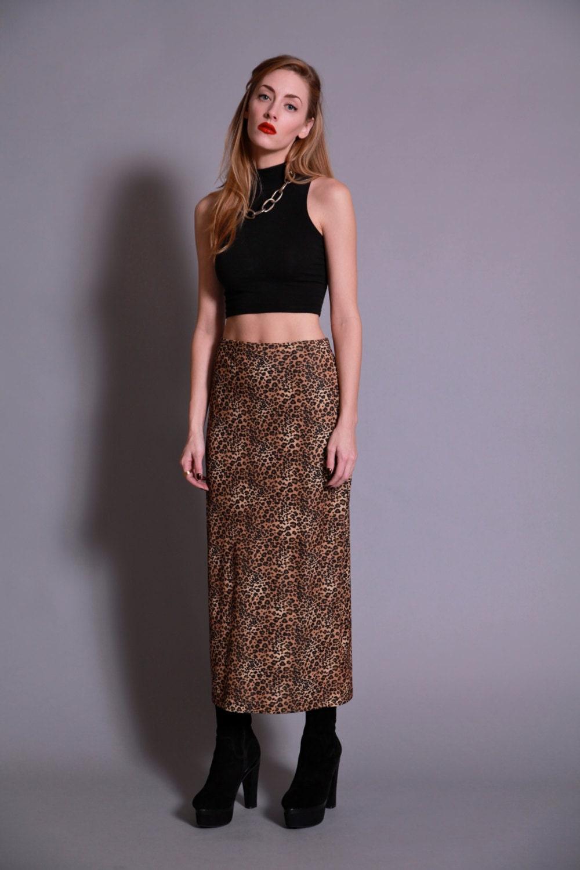 vintage leopard print maxi skirt by bermudadream on etsy