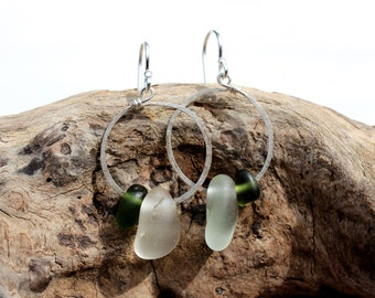Hawaiian Olive Green Beach Glass & Clear Beach Glass on Hammered 925 Sterling Silver Circular Wire Small Hoop Earrings