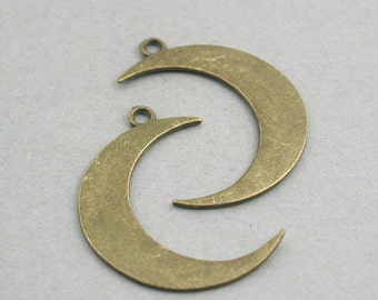 SALE Large Crescent Moon Charms Antique Bronze 2pcs pendant beads 32X43mm CM0738B
