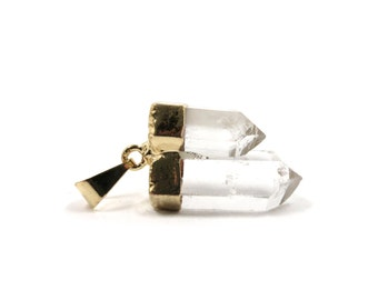 Quartz Crystal Pendant 1 Raw Double Point Natural Stone and Electroplated Gold Focal (Lot B14) SALE