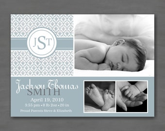 Baby Boy Photo Birth or Adoption Announcement; Blue Damask with Monogram