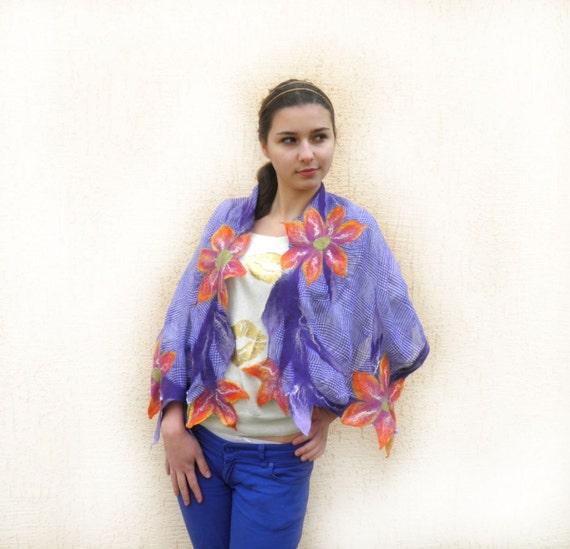 Felt silk and wool shawl, Felted Scarf, Women's Shawl, summer scarf, Nuno felted scarf, floral scarf