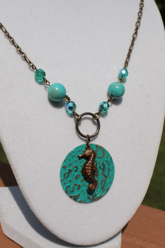 Brass Embossed Seahorse Necklace